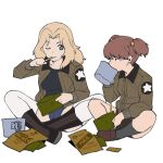 2girls alisa_(girls_und_panzer) bangs black_footwear black_shirt black_shorts blonde_hair blue_eyes blue_shorts boots brown_eyes brown_hair brown_jacket commentary cup eating emblem freckles girls_und_panzer grey_legwear hair_intakes hair_ornament half-closed_eyes highres holding indian_style jacket kay_(girls_und_panzer) loafers long_hair long_sleeves looking_at_viewer military military_uniform mre multiple_girls one_eye_closed onsen_tamago_(hs_egg) open_clothes open_jacket pouch saunders_military_uniform shirt shoes short_hair short_shorts short_twintails shorts side-by-side simple_background sitting socks star_(symbol) star_hair_ornament thigh-highs twintails uniform white_background white_legwear