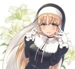 1girl bangs black_dress blonde_hair blush chokuro commentary_request dress eyebrows_visible_through_hair eyelashes flower glasses gloves habit highres long_hair long_sleeves looking_at_viewer nijisanji nun open_mouth ribbon shiny shiny_hair sister_cleaire smile solo virtual_youtuber white_gloves white_ribbon yellow_eyes zipper_pull_tab