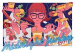 1girl bangs black-framed_eyewear brown_hair burger cake candy cheese chocolate chopsticks closed_eyes doughnut extra_hands food fruit glasses halftone highres holding holding_spoon hot_dog kk724 lettuce noodles original parted_lips ramen short_hair signature solo spoon strawberry tomato upper_body