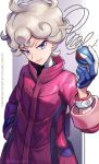 1boy ahoge bangs bede_(pokemon) blonde_hair closed_mouth coat commentary_request curly_hair dynamax_band eyelashes gloves great_ball hand_up highres holding holding_poke_ball janis_(hainegom) male_focus poke_ball pokemon pokemon_(creature) pokemon_(game) pokemon_swsh popped_collar purple_coat short_hair sleeves_rolled_up smile solo twitter_username violet_eyes watermark