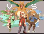 1girl 2boys :d bike_shorts blastoise blue_oak brown_eyes brown_hair brown_pants buttons camouflage camouflage_headwear charizard clenched_hand coat dress eyelashes floating_hair gen_1_pokemon green_coat grey_background hand_on_headwear hat highres jacket leaf_(pokemon) leg_up letterboxed long_hair long_sleeves looking_at_viewer multiple_boys open_clothes open_coat open_mouth outside_border outstretched_arm pants pink_dress pointing pokemon pokemon_(creature) pokemon_(game) pokemon_masters_ex red_(pokemon) red_coat shoes short_dress short_hair sidelocks sleeveless_coat smile sneakers spiky_hair standing tongue torinoko_(miiko_draw) venusaur wristband