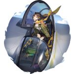 1girl :d aircraft airplane animal_on_shoulder breasts brown_hair brown_shorts cockpit earhart_(girls_frontline_nc) fingerless_gloves flying fox full_body girls_frontline girls_frontline_neural_cloud gloves green_jacket headset highres jacket kneehighs kneepits looking_at_viewer official_art open_clothes open_cockpit open_jacket open_mouth red_eyes scarf shirt short_hair shorts sitting sky small_breasts smile solo transparent_background white_shirt yellow_scarf