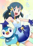 1girl :d bangs bare_arms beads blue_dress bubble commentary crescent crescent_hair_ornament dawn_(pokemon) dress eyelashes gen_4_pokemon gloves gradient_dress grey_eyes hainchu hair_ornament highres long_hair looking_at_viewer open_mouth outstretched_arms piplup pokemon pokemon_(anime) pokemon_(creature) pokemon_swsh_(anime) sidelocks sleeveless sleeveless_dress smile tongue