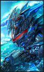 black_border blue_eyes border glowing glowing_eye holding kim_yura_(goddess_mechanic) leaning_forward mecha no_humans ocean redesign science_fiction solo super_robot taekwon_v taekwon_v_(robot) water watermark waving web_address