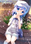 1girl animal_ears animal_hat bag bangs black_shirt blue_eyes blue_flower blue_hair blue_scrunchie blush cabbie_hat chinomaron commentary_request day eyebrows_visible_through_hair fake_animal_ears feet_out_of_frame flower gochuumon_wa_usagi_desu_ka? grey_skirt hair_between_eyes hair_ornament hair_over_shoulder hair_scrunchie hand_to_own_mouth hands_up hat highres hood hood_down hooded_jacket jacket kafuu_chino kneehighs knees_together_feet_apart long_hair low_ponytail outdoors parted_lips petals pink_flower ponytail purple_flower red_flower scrunchie shirt short_sleeves shoulder_bag signature sitting skirt solo white_flower white_headwear white_jacket white_legwear x_hair_ornament