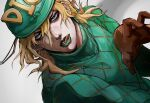 1boy blonde_hair diego_brando gloves green_eyes hat highres hospital_0434 jojo_no_kimyou_na_bouken licking_lips lipstick looking_at_viewer makeup male_focus simple_background steel_ball_run sweater tongue tongue_out
