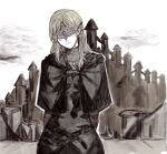 1girl arms_behind_back blindfold blonde_hair cloak covered_eyes dark_souls_(series) dark_souls_iii english_commentary eye_mask fire_keeper jewelry long_hair looking_at_viewer necklace skyline smile solo yourfreakyneighbourh