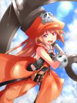 1girl :d anchor bangs belt belt_buckle blue_sky breasts brown_eyes brown_hair buckle clouds eyebrows_visible_through_hair fang guilty_gear guilty_gear_xrd hat holding holding_anchor kitayama_miuki looking_at_viewer may_(guilty_gear) open_mouth orange_headwear orange_legwear pirate_hat skull_and_crossbones sky small_breasts smile solo vest