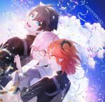 1boy 2girls ahoge anniversary artist_request bangs black_hair black_scrunchie black_shirt blue_eyes blue_sky closed_mouth clouds collared_shirt commentary_request confetti day english_text eyebrows_visible_through_hair fate/grand_order fate_(series) fujimaru_ritsuka_(female) fujimaru_ritsuka_(male) glasses grey_jacket hair_between_eyes hair_ornament hair_over_one_eye hair_scrunchie hand_on_another's_back highres hood hood_down hooded_jacket hug hug_from_behind jacket long_sleeves looking_at_another mash_kyrielight multiple_girls necktie one_eye_covered open_clothes open_jacket open_mouth orange_eyes orange_hair outdoors pink_hair polar_chaldea_uniform ponytail red_neckwear scrunchie shirt short_hair short_sleeves side_ponytail sky smile uniform upper_body upper_teeth violet_eyes