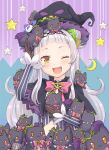 1girl ;d bangs black_capelet black_headwear blunt_bangs bow bowtie brown_gloves capelet cropped_shirt forehead gloves grey_shirt hair_ornament hairband haniwa_(leaf_garden) hat highres hololive layered_capelet long_hair murasaki_shion one_eye_closed open_mouth pink_neckwear purple_capelet shiokko_(murasaki_shion) shirt side_bun sidelocks silver_hair smile solo_focus striped striped_shirt upper_body vertical-striped_shirt vertical_stripes virtual_youtuber witch_hat yellow_eyes