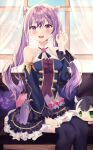 1girl :d absurdres alternate_costume bangs black_legwear character_doll commentary_request cosplay couch curtains detached_sleeves double_bun educk eyebrows_visible_through_hair genshin_impact hair_between_eyes highres karyl_(princess_connect!) karyl_(princess_connect!)_(cosplay) keqing_(genshin_impact) long_hair looking_at_viewer open_mouth paw_pose pillow princess_connect! purple_hair sidelocks sitting smile solo thigh-highs twintails violet_eyes wide_sleeves window zettai_ryouiki