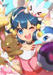 1girl ;d absurdres bangs blue_eyes blue_hair blurry blush buneary choker collarbone commentary_request dawn_(pokemon) dress eyelashes floating_hair gen_4_pokemon gloves hand_up highres holding holding_poke_ball looking_at_viewer on_head one_eye_closed open_mouth outstretched_arm pachirisu pink_dress piplup poke_ball pokemon pokemon_(anime) pokemon_(creature) pokemon_dppt_(anime) pokemon_on_head ponytail smile taisa_(lovemokunae) tied_hair tongue upper_teeth white_gloves