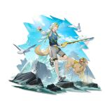 1boy :q ahoge animal_ears arknights bangs bird blonde_hair blue_eyes blue_sky blue_tank_top clouds day dog dog_ears dog_tail elite_ii_(arknights) eyewear_on_head full_body hair_between_eyes highres holding holding_sword holding_weapon hood hooded_jacket jacket jewelry kang_yiqian_(self_cultivation) long_sleeves looking_at_viewer male_focus necklace official_art open_clothes open_jacket outdoors rock sandals short_hair shorts sky smile sunglasses sword tail tank_top tequila_(arknights) tongue tongue_out transparent_background weapon white_jacket white_shorts