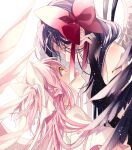 2girls akemi_homura akuma_homura ayumaru_(art_of_life) bare_shoulders black_hair black_wings closed_eyes closed_mouth commentary eyebrows_visible_through_hair face-to-face facing_another feathered_wings from_side goddess_madoka hair_ribbon hair_strand hand_up happy highres kaname_madoka light_particles light_smile looking_at_another looking_up mahou_shoujo_madoka_magica mahou_shoujo_madoka_magica_movie multiple_girls open_mouth pink_hair profile red_ribbon ribbon shiny shiny_hair simple_background straight_hair symbol_commentary two_side_up white_background white_ribbon white_wings wings yellow_eyes