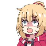 1girl akai_haato aqua_eyes bangs blonde_hair collarbone eyebrows_visible_through_hair eyelashes hair_ornament hair_ribbon hairband hairclip heart hololive honmirin hood hoodie open_mouth red_hoodie ribbon scared shaded_face simple_background solo sweat teardrop trembling virtual_youtuber white_background