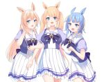 3girls :d animal_ears bangs black_bow blonde_hair blue_eyes blue_hair bow breasts character_request collarbone commentary_request commission eyebrows_visible_through_hair frilled_skirt frills girl_sandwich green_eyes gucchiann hand_up highres horse_ears light_brown_hair locked_arms long_hair medium_breasts mole mole_on_neck multicolored_hair multiple_girls open_mouth pleated_skirt puffy_short_sleeves puffy_sleeves purple_shirt sandwiched school_uniform shirt short_sleeves skirt smile streaked_hair tracen_school_uniform twintails uma_pyoi_densetsu umamusume very_long_hair virtual_youtuber white_skirt