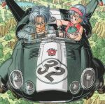 1girl 2boys aircraft baby bare_arms black_shirt blue_eyes blue_hair bulma capsule_corp denim denim_jacket dragon_ball dragon_ball_z driving dual_persona earrings elbow_rest forest from_above grass green_headwear hair_between_eyes hairband hat highres hill jacket jewelry lake medium_hair messy_hair mother_and_son mountain multiple_boys nature pectorals red_hairband serious shirt sleeveless smile toriyama_akira tree trunks_(dragon_ball) trunks_(future)_(dragon_ball) ventilation_shaft watch watch water