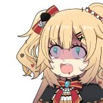 1girl akai_haato aqua_eyes bangs blonde_hair bow bowtie eyebrows_visible_through_hair hair_bow hair_ornament hairclip heart heart_hair_ornament hololive honmirin jewelry open_mouth scared shaded_face simple_background sweat teardrop trembling virtual_youtuber white_background