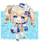 1girl :d bag bangs barbara_(genshin_impact) barbara_(summertime_sparkle)_(genshin_impact) blue_eyes blue_swimsuit character_name chibi choker commentary_request detached_sleeves drill_hair duck_print eyebrows_visible_through_hair eyes_visible_through_hair genshin_impact hair_between_eyes handbag hat highres hue light_brown_hair long_hair looking_at_viewer open_mouth pose sidelocks smile solo swimsuit twin_drills twintails