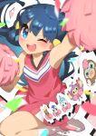 1girl ;d absurdres ambipom arm_up bangs blue_eyes blue_hair blurry blush buneary character_print cheerleader confetti dawn_(pokemon) dress eyelashes gen_4_pokemon hair_ornament hairclip highres holding holding_pom_poms leg_up long_hair looking_at_viewer mamoswine one_eye_closed open_mouth pachirisu pink_dress pink_footwear piplup pokemon pokemon_(anime) pokemon_dppt_(anime) pom_pom_(cheerleading) shoes sleeveless sleeveless_dress smile socks taisa_(lovemokunae) tongue upper_teeth white_legwear