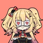 1girl :> akai_haato bangs black_outline blonde_hair bow bowtie check_commentary chibi commentary_request covered_eyes eyebrows_visible_through_hair eyepatch flower frills hair_bow hair_flower hair_ornament hairclip heart heart_hair_ornament hololive honmirin jewelry long_hair medical_eyepatch outline red_background simple_background smile virtual_youtuber