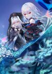 2girls absurdres arknights bangs bare_shoulders black_gloves black_pants commentary_request gloves habit hat hat_removed headwear_removed highres leggings long_hair long_sleeves looking_at_viewer multiple_girls pants red_eyes sheya silver_hair skadi_(arknights) smile specter_(arknights) symbol_commentary