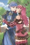 2girls blue_hair blue_sky braid bush couple dress eye_contact fire_emblem fire_emblem:_three_houses gloves hand_on_another's_chin highres hilda_valentine_goneril holding_hands imminent_kiss interlocked_fingers looking_at_another marianne_von_edmund multiple_girls pink_hair radiostarkiller sky smile tree twintails yuri