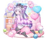 1girl :d ass balloon bangs black_legwear bow breasts building_block character_request commentary_request curtains day dress eyebrows_visible_through_hair from_behind fruits_fulcute! grey_hair hair_bow hand_up heart_balloon long_hair long_sleeves looking_at_viewer looking_back medium_breasts no_shoes official_art open_mouth pantyhose pink_dress pleated_dress purple_bow ribbon-trimmed_dress simple_background smile soles solo thick_eyebrows usashiro_mani very_long_hair violet_eyes watermark white_background wide_sleeves window