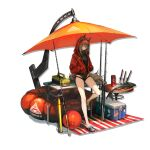 1girl animal_ears arknights ball beach_umbrella beachball bicycle_pump black_swimsuit character_name cooler ears_through_headwear english_text fish fishing_rod grey_hair hair_between_eyes hands_in_pockets highleg highleg_swimsuit highres hood hood_up hooded_jacket inflatable_raft infukun jacket knife long_hair long_sleeves looking_at_viewer official_alternate_costume one-piece_swimsuit open_clothes open_jacket orange_umbrella projekt_red_(arknights) projekt_red_(light_breeze)_(arknights) red_jacket solo swimsuit tackle_box tail transparent_background umbrella wolf_ears wolf_girl wolf_tail yellow_eyes