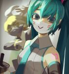 2girls :> absurdres aqua_eyes aqua_hair aqua_neckwear armpits bangs bare_shoulders black_sailor_collar blonde_hair bow breasts bubble_tea collared_shirt commentary detached_sleeves english_commentary english_text eyebrows_visible_through_hair grey_shirt hair_between_eyes hair_bow hair_ornament hatsune_miku highres kagamine_rin long_hair looking_at_another looking_at_viewer mask motion_blur mouth_mask multiple_girls necktie neon_trim sailor_collar shirt short_hair sidelocks simple_background small_breasts swept_bangs tattoo topdylan twintails upper_body vocaloid white_bow yellow_eyes