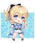 1girl :d absurdres artist_name bangs blonde_hair blue_eyes bow bracelet chibi commentary_request cross earrings eyebrows_visible_through_hair full_body genshin_impact hair_between_eyes hair_bow hair_ribbon highres hue jean_(genshin_impact) jean_(sea_breeze_dandelion)_(genshin_impact) jewelry long_hair looking_at_viewer open_mouth ponytail ribbon sidelocks simple_background smile solo standing