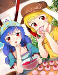 2girls alternate_headwear animal_ears baking bangs blonde_hair blue_hair blush brown_headwear cabbie_hat cabinet commentary_request commission cookie crescent_print dutch_angle eating eyebrows_behind_hair finger_in_mouth flat_chest food food_in_mouth hat highres holding holding_food indoors kaisenpurin long_hair looking_at_viewer low-tied_long_hair mixing_bowl multiple_girls puffy_short_sleeves puffy_sleeves rabbit_ears red_eyes ringo_(touhou) seiran_(touhou) short_hair short_sleeves skeb_commission swept_bangs touhou upper_body