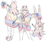 >_< 1girl animal_ears bangs braid drawfag from_behind long_hair multiple_views no_pants phase_connect pink_eyes pink_hair pipkin_pippa rabbit_ears rabbit_girl sketch sleeves_past_fingers sleeves_past_wrists sweater v-shaped_eyebrows virtual_youtuber white_background