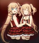 2girls akai_haato aqua_eyes artist_name bangs blonde_hair blush bow commentary dark dress dual_persona frilled_dress frills hair_bow hair_ornament hair_ribbon heart heart_hair_ornament heart_necklace highres hololive interlocked_fingers looking_at_viewer looking_back multiple_girls nail_polish open_mouth red_background red_dress red_nails ribbon smile thigh-highs thigh_strap virtual_youtuber zettai_ryouiki
