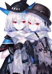 2girls absurdres arknights artist_name black_gloves black_headwear commentary gloves grey_scarf highres multiple_girls scarf sheya signature silver_hair simple_background skadi_(arknights) specter_(arknights) specter_(undercurrent)_(arknights) symbol_commentary upper_body white_background