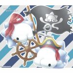 black_eyes character_print commentary_request flag gen_8_pokemon hat hatted_pokemon letterboxed no_humans outline pirate_hat pokemon pokemon_(creature) sasabunecafe ship's_wheel snom solid_circle_eyes translation_request twitter_username