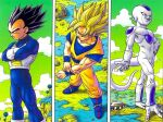 3boys adjusting_clothes aircraft ankle_boots arm_at_side armor black_hair blue_bodysuit blue_eyes blue_footwear bodysuit boots closed_mouth clouds cloudy_sky column_lineup contrapposto crossed_arms day dougi dragon_ball dragon_ball_z evil_smile facing_away feet_out_of_frame fingernails frieza from_above frown gloves grass green_sky ground hand_on_hip hill horizon lake looking_afar male_focus mountain multiple_boys muscular muscular_male namek outdoors pectorals realistic red_eyes rock rope saiyan_armor serious shadow sidelighting sideways_glance sky smile son_goku spiky_hair super_saiyan super_saiyan_1 tail toriyama_akira tree vegeta water white_gloves