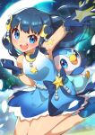 1girl :d absurdres arm_up bangs blue_dress blue_eyes blue_footwear blue_gloves blue_hair clenched_hand commentary_request crescent crescent_hair_ornament dawn_(pokemon) dress eyebrows_visible_through_hair eyelashes floating_hair gen_4_pokemon gloves gradient_dress hair_ornament highres leg_up looking_at_viewer open_mouth piplup pokemon pokemon_(anime) pokemon_(creature) pokemon_swsh_(anime) shoes sleeveless sleeveless_dress smile taisa_(lovemokunae) tongue upper_teeth