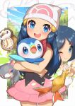 2girls :d absurdres beanie blue_eyes blue_hair blush character_print closed_mouth commentary_request dawn_(pokemon) eyelashes gen_4_pokemon glameow hair_ornament hairclip hand_up hat highres index_finger_raised johanna_(pokemon) legendary_pokemon long_hair looking_at_viewer mesprit mother_and_daughter multiple_girls one_eye_closed open_mouth pink_skirt piplup pokemon pokemon_(anime) pokemon_(creature) pokemon_dppt_(anime) ribbon scarf shirt skirt sleeveless sleeveless_shirt smile starly taisa_(lovemokunae) tongue upper_teeth white_headwear