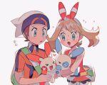 1boy 1girl brendan_(pokemon) diamond_mouth gen_3_pokemon hat heart hinann_bot holding holding_pokemon may_(pokemon) minun plusle pokemon pokemon_(creature) simple_background symbol_commentary white_background