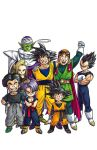 1girl 6+boys android_18 ankle_boots arm_around_neck arms_at_sides bandana belt black_bodysuit black_hair black_shirt blonde_hair blue_eyes blue_wristband bodysuit boots brothers brown_belt cape clenched_hands clenched_teeth closed_mouth colored_skin crossed_arms denim dougi dragon_ball dragon_ball_z earrings facing_viewer father_and_son full_body gloves green_footwear green_skin grin halo hand_on_another's_head hands_on_hips height_difference hoop_earrings husband_and_wife jeans jewelry kuririn leggings lineup multiple_boys no_eyebrows open_mouth orange_bandana pants piccolo pointy_ears purple_hair red_cape red_sweater serious shirt shoes short_hair siblings sideways_glance simple_background smile sneakers son_gohan son_goku son_goten spiky_hair standing straight_hair sunglasses sweater sweatpants teeth toriyama_akira trunks_(dragon_ball) tsurime turban vegeta white_background white_cape white_footwear white_gloves wristband yellow_footwear