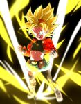 1girl asymmetrical_legwear aura belt blonde_hair blue_eyes boots clenched_hands crop_top dragon_ball dragon_ball_heroes fanny_pack fingerless_gloves flat_chest gloves green_shorts hairband jacket midriff open_clothes open_jacket open_mouth orange_hairband pan_(dragon_ball) pan_(xeno)_(dragon_ball) red_jacket rom_(20) shorts solo spiky_hair super_saiyan super_saiyan_1