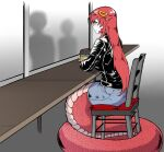 1girl absurdres chair closed_mouth commission commissioner_upload cup denim denim_skirt disposable_cup hair_ornament highres jacket lamia leather leather_jacket long_hair miia_(monster_musume) monster_girl monster_musume_no_iru_nichijou pointy_ears redhead scales scribblesquab simple_background sitting skirt window yellow_eyes