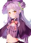 1girl absurdres bangs black_capelet black_skirt blush brown_hair capelet flat_chest hair_behind_ear hat highres hololive long_hair looking_at_viewer maria_onnette murasaki_shion navel side_bun silver_hair skirt smile solo upper_body virtual_youtuber witch_hat