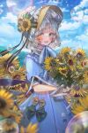 1girl :d bangs black_ribbon blue_dress blunt_bangs blurry blurry_foreground blush bonnet bow bubble clouds cloudy_sky commentary day dress field flower flower_field green_bow green_eyes hanato_(seonoaiko) heterochromia highres holding holding_flower looking_at_viewer mole mole_under_eye open_mouth original outdoors puffy_short_sleeves puffy_sleeves ribbon short_hair short_sleeves silver_hair sky smile solo standing sunflower symbol_commentary upper_teeth white_ribbon yellow_bow yellow_eyes yellow_flower