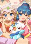 2boys 3girls absurdres arabian_clothes ash_ketchum bangs blue_eyes blue_hair blush breasts brock_(pokemon) brown_hair choker commentary_request crying dawn_(pokemon) eyelashes gen_4_pokemon grin hand_up highres looking_at_viewer may_(pokemon) multiple_boys multiple_girls navel open_mouth piplup pokemon pokemon_(anime) pokemon_dppt_(anime) smile taisa_(lovemokunae) tears teeth tied_hair tongue upper_teeth w zoey_(pokemon)