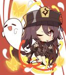 1girl :d ;p bangs black_shorts brown_hair chibi chinese_clothes commentary_request eyebrows_visible_through_hair flower genshin_impact ghost ghost_pose hair_between_eyes hat hat_flower hat_ornament highres hu_tao_(genshin_impact) kneehighs long_hair long_sleeves looking_at_viewer mochimochi_kinako. one_eye_closed open_mouth red_eyes shorts sidelocks smile solo symbol-shaped_pupils tongue tongue_out twintails white_legwear