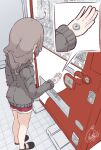 1girl ahoge beni_shake black_footwear brown_hair coin commentary_request grey_hoodie holding hood hood_down hoodie long_sleeves money original red_shorts shoes short_shorts shorts signature solo vending_machine