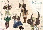 159cm 1girl animal_ears asymmetrical_horns blue_skirt blush boots braid breasts brown_dress brown_footwear brown_jacket closed_mouth dress glan_(159cm) green_hair green_jacket grey_legwear hand_up horn_flower horns huge_horns jacket large_breasts leaning_forward long_hair long_skirt long_sleeves looking_at_viewer multiple_views open_clothes open_jacket original pantyhose pigeon-toed sitting skirt smile standing translation_request twin_braids yellow_eyes