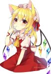 1girl absurdres animal_ears arm_ribbon artist_name bangs bell blonde_hair bow cat_ears closed_mouth collar crystal dress eyebrows_visible_through_hair flandre_scarlet hair_between_eyes hand_up hat hat_ribbon highres jewelry mob_cap multicolored multicolored_wings one_side_up puffy_short_sleeves puffy_sleeves red_bow red_dress red_eyes red_ribbon ribbon ruhika shirt short_hair short_sleeves simple_background smile solo touhou twitter_username white_background white_bow white_headwear white_shirt wings yellow_neckwear